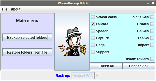 WormsBackup screenshot